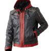 red hooded mens batman jacket