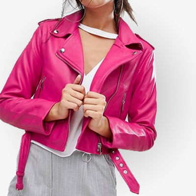 Womens Pink Zipper Leather Jacket