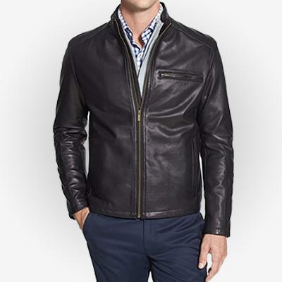 Mens Black Moto Leather Jacket