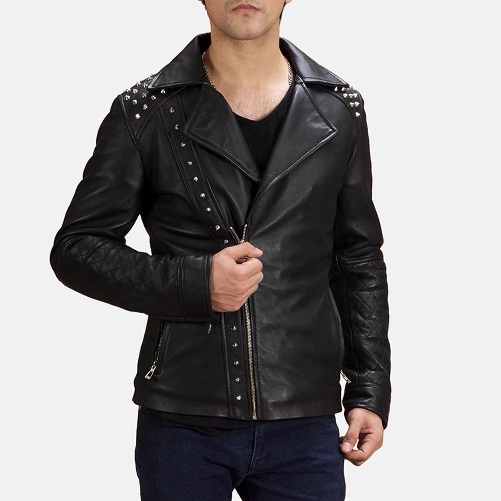 Mens Black Studded Biker Jacket
