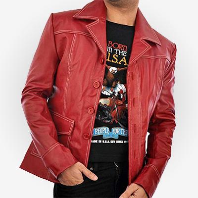 Fight Club Brad Pitt Red Jacket