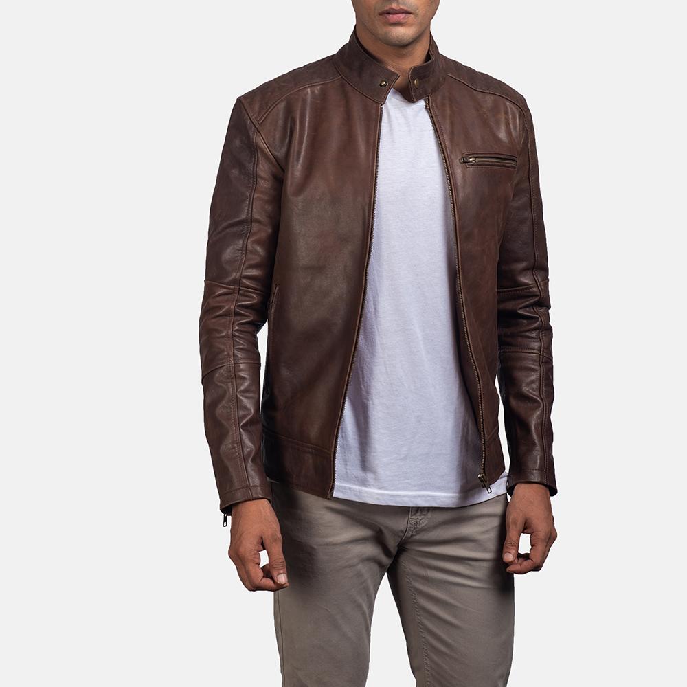 Mens Dean Brown Biker Jacket