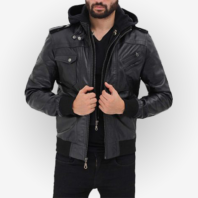 Mens Black Bomber Leather Hooded Jacket