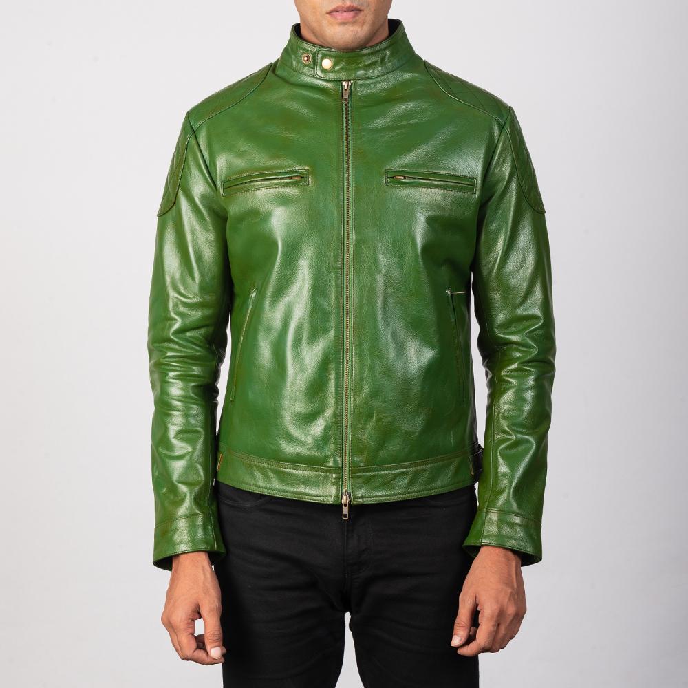 Men's Gatsby Quilted Green Biker Jacket
