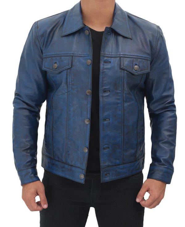 Blue Leather Trucker Jacket