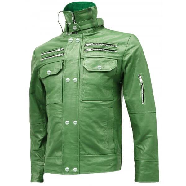 Green High Collar Biker Jacket