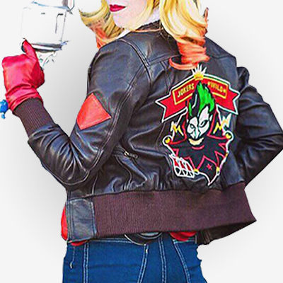 Harley Quinn Bombshell Brown Leather Jacket