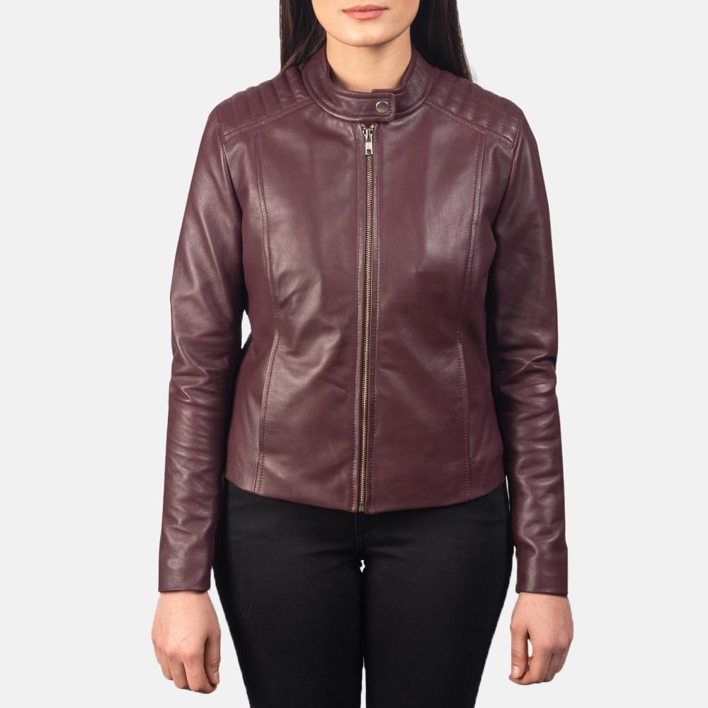 Womens Kelsee Maroon Biker Jacket
