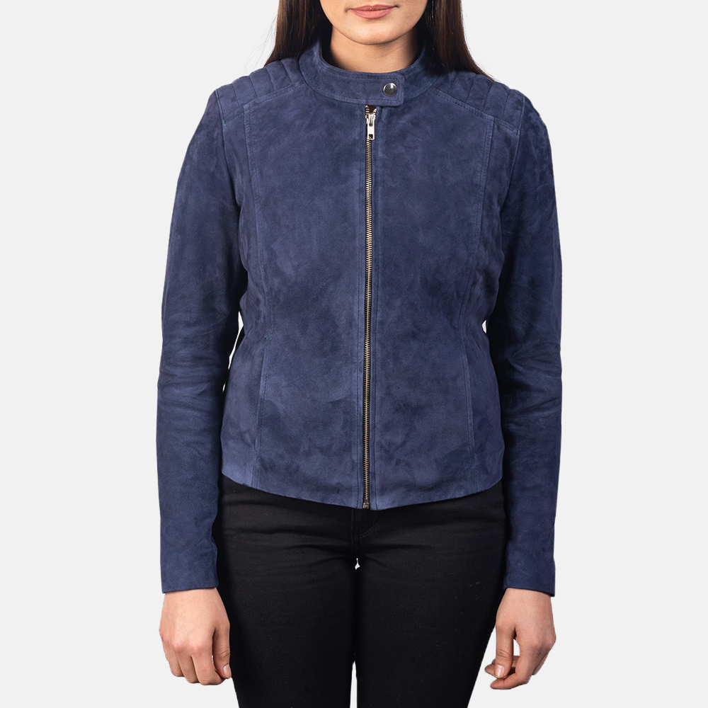 Kelsee Navy Blue Biker Jacket