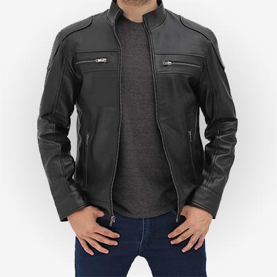 Elegant Mens Black Leather Biker Jacket