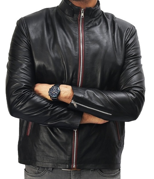 Black With Red Zipper Leather Jacket