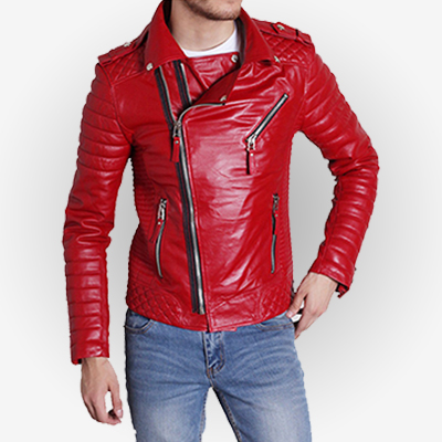 Padded Sleeve Red Motorcycle Leather Jacket for Mens