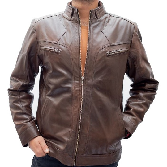 Two Tone Brown Leather Jacket