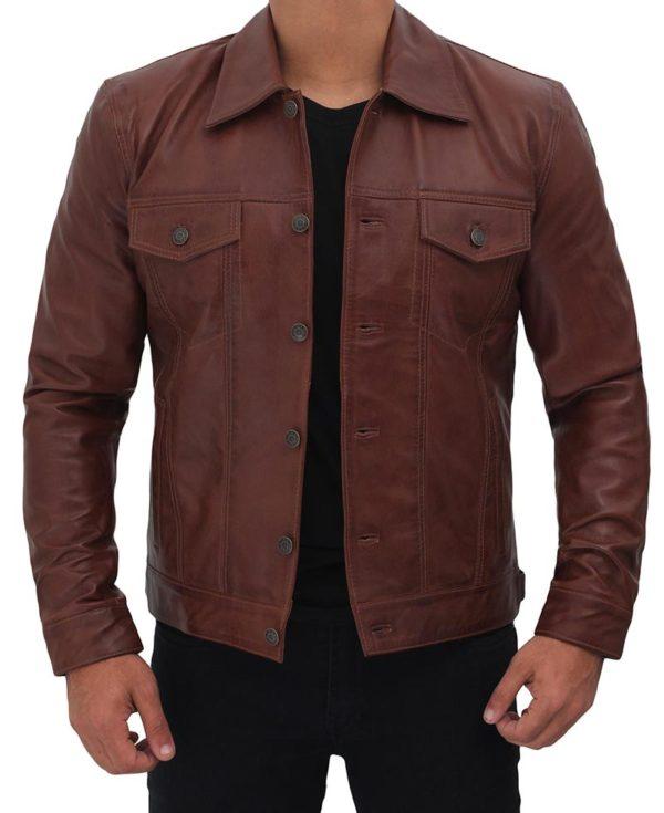 Mens Leather Trucker Brown Jacket