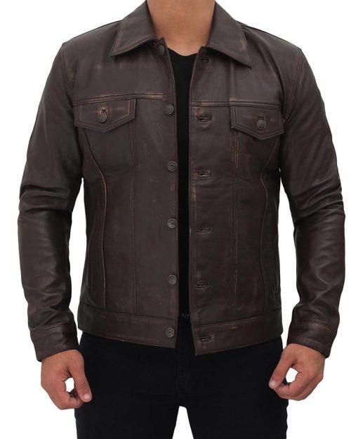 Leather Trucker Dark Brown Jacket for Men