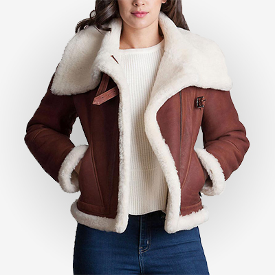 Shearling Brown Sheepskin Womens Leather Jacket