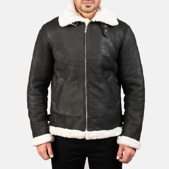 white aviator jacket with fur collar