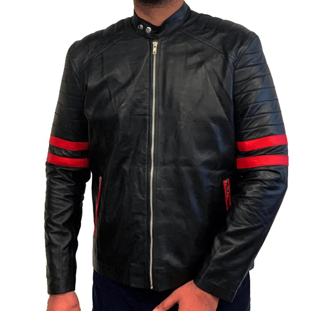 Men's Red Stripes Leather Jacket