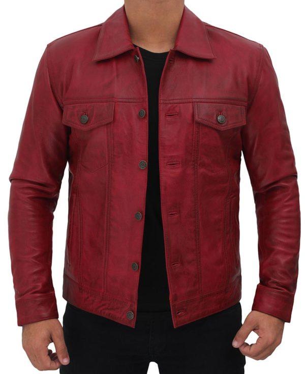 Reddish Maroon Genuine Leather Trucker Jacket