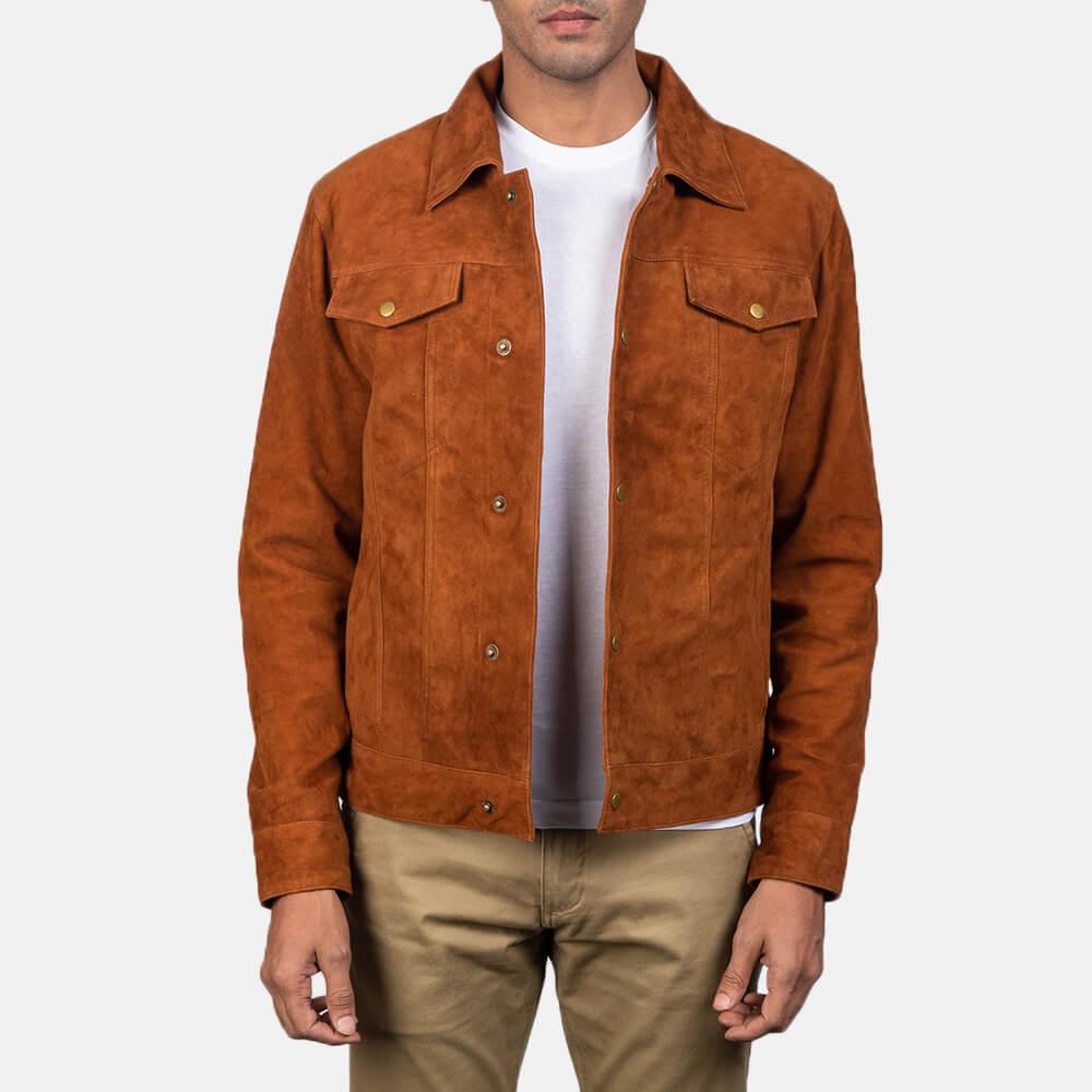 Logan Mens Brown Suede Leather Trucker Jacket