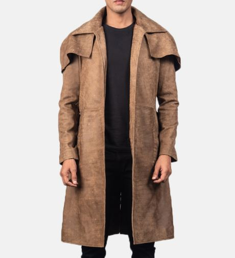 brown leather duster