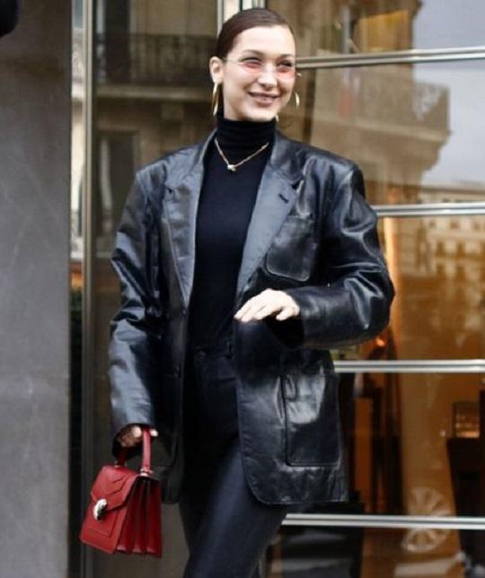 Bella Hadid Black Leather Jacket