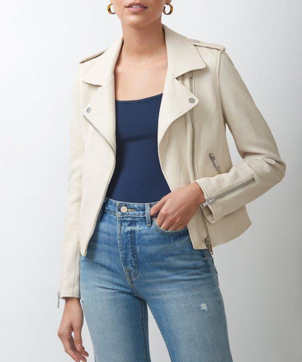 Womens Off White Biker Leather Jacket
