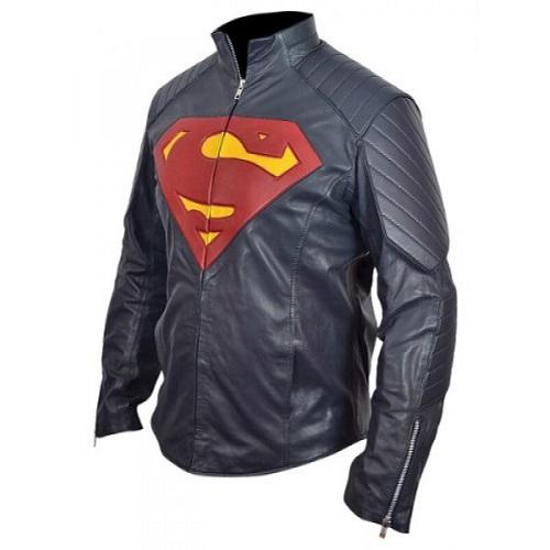 Superman blue leather jacket