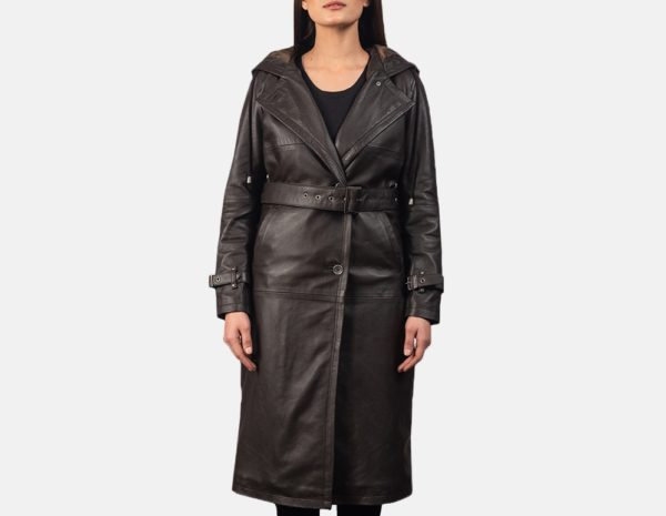 Fixon Brown Trench Hooded Leather Coat
