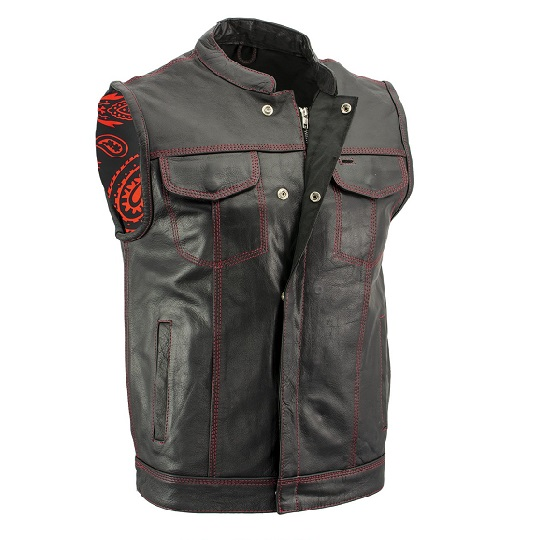 Men's 'Paisley' Black Leather Motorcycle concealed carry Vest