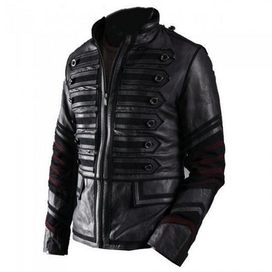 Mens-Punk-Rocker-Military-Leather-Jacket