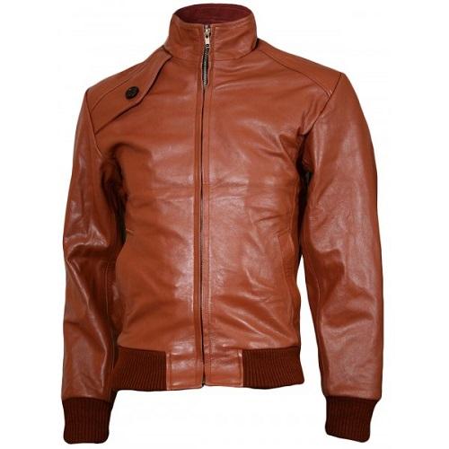 tan brown leather jacket