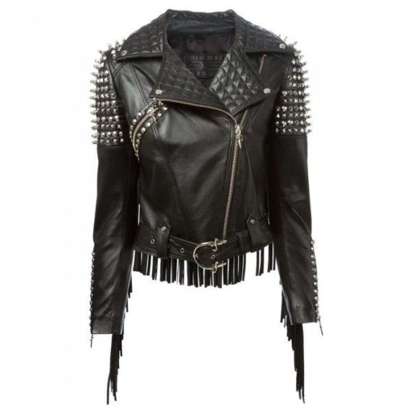 Women Fashion steampunk black fringe Leather Jacket