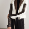 Color Block White Leather Jacket
