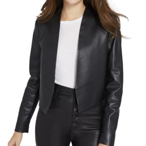 Emily in paris black leather jacket