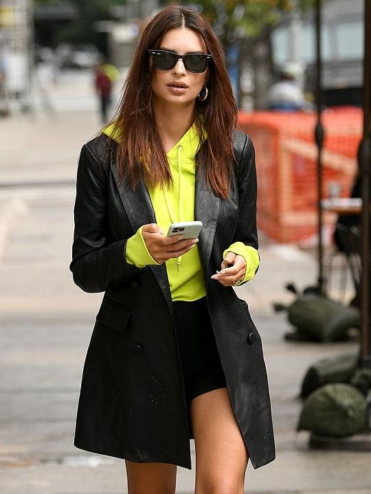 Emily Ratajkowski Black leather Blazer