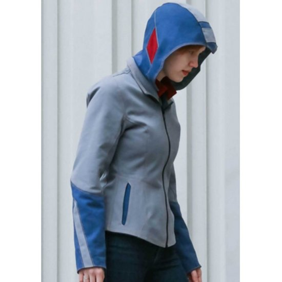 Mega Man Leather Jacket In Blue Color With Hoodie