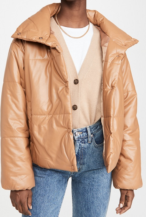 Camel-Puffer-leather-jacket-Mens