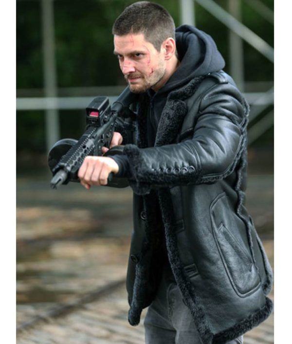 The Punisher 2 Billy Russo Black Leather Fur Coat