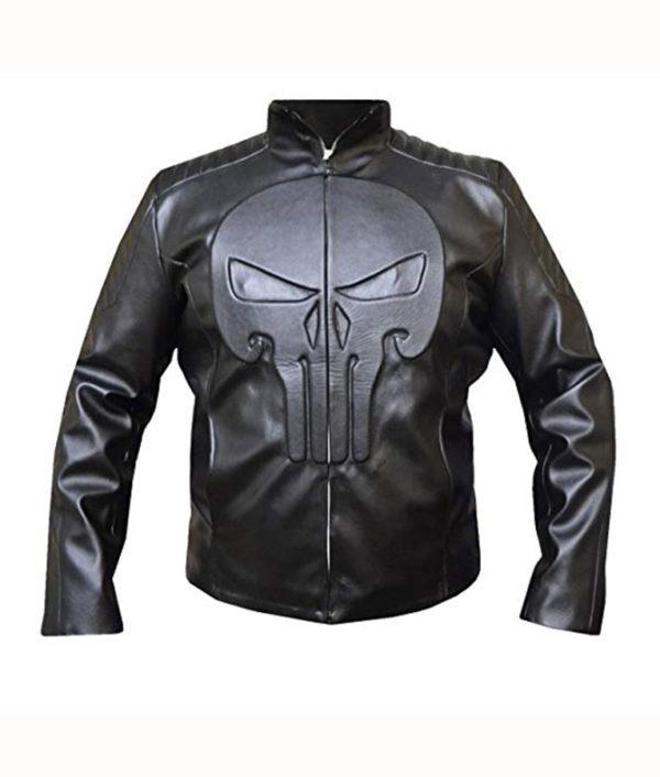 Mens Frank Castle Jacket Skull Embossed Leather Jacket