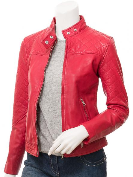 Dotelle Women's Red Leather Jacket