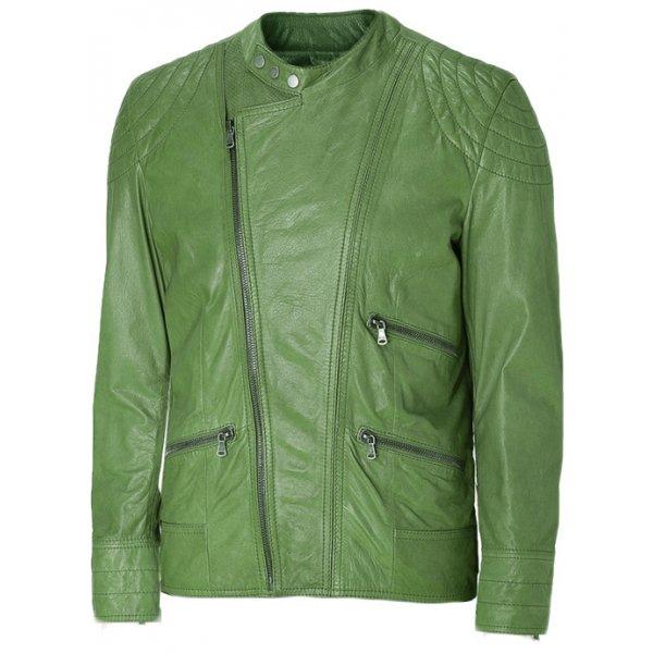 Mens Green Bieker Leather Jacket