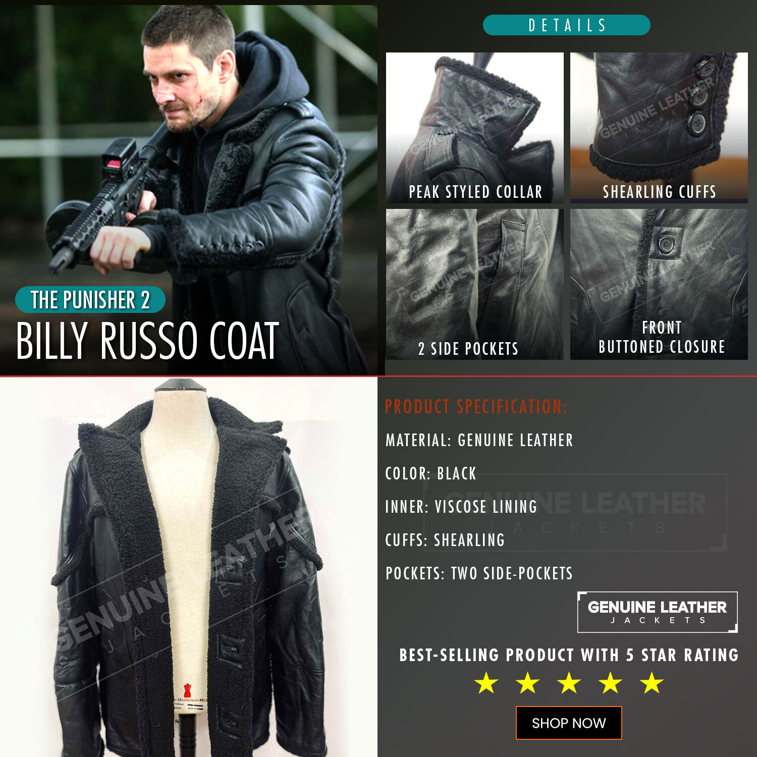 The Punisher 2 Billy Russo Black Coat