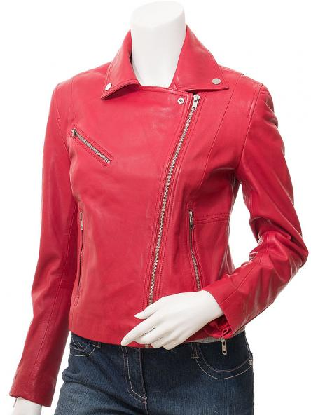 Gadsen Red Leather Jacket For Women
