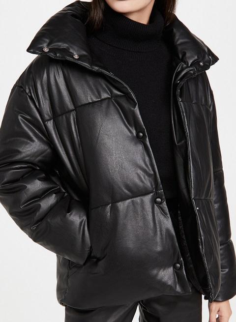 Women's Black Leather Puffer Jacket
