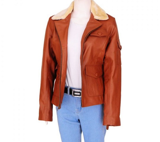 Amelia Earhart Amy Adams Night at the Museum 2 Tan Brown Leather Jacket With Fur Collar