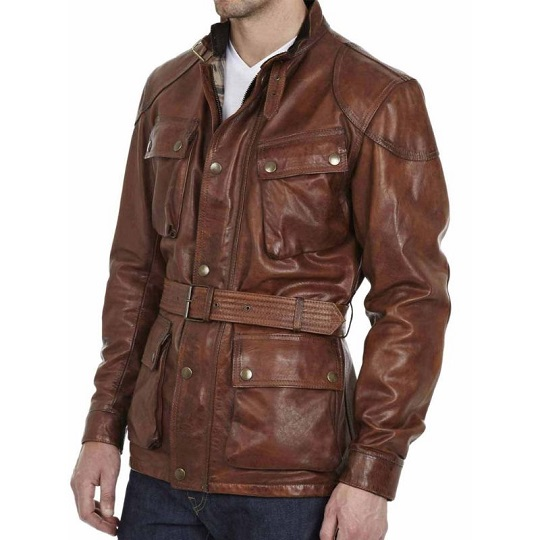 Brad Pitt Benjamin Button Biker Brown Leather Jacket For Men