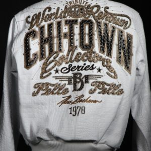 Chi-Town Pelle Pelle White Leather Jacket