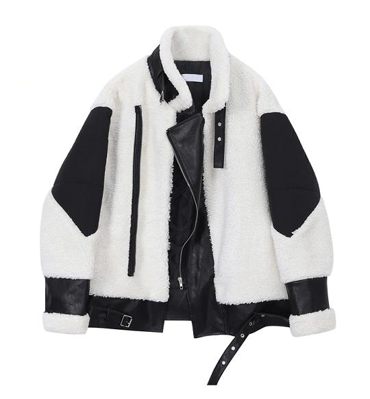 Chic Faux Sheepskin Biker Jacket