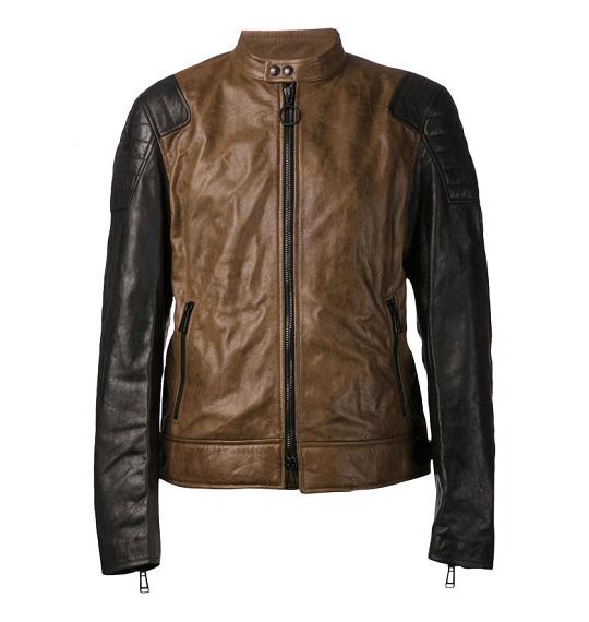 Black Brown Dual Color Leather Jacket